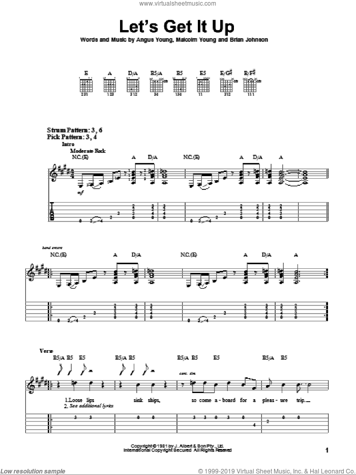 Let's Get It Up sheet music for guitar solo (easy tablature) by Malcolm Young, AC/DC and Angus Young. Score Image Preview.