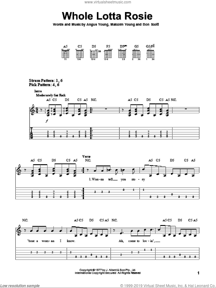 Whole Lotta Rosie sheet music for guitar solo (easy tablature) by AC/DC, Angus Young, Bon Scott and Malcolm Young, easy guitar (easy tablature)