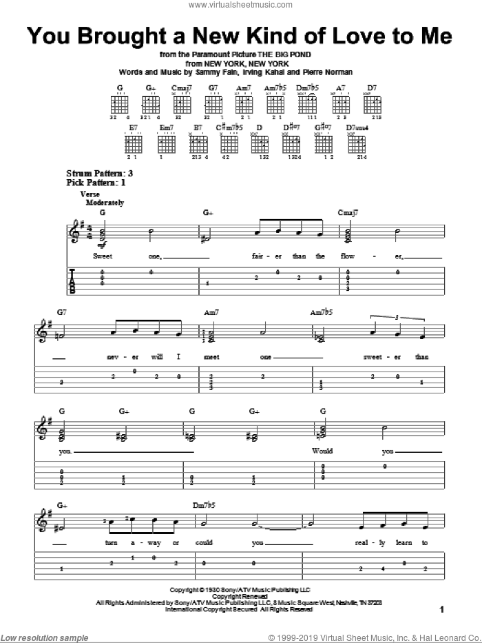 You Brought A New Kind Of Love To Me sheet music for guitar solo (easy tablature) by Frank Sinatra, Irving Kahal, Pierre Norman and Sammy Fain, easy guitar (easy tablature)
