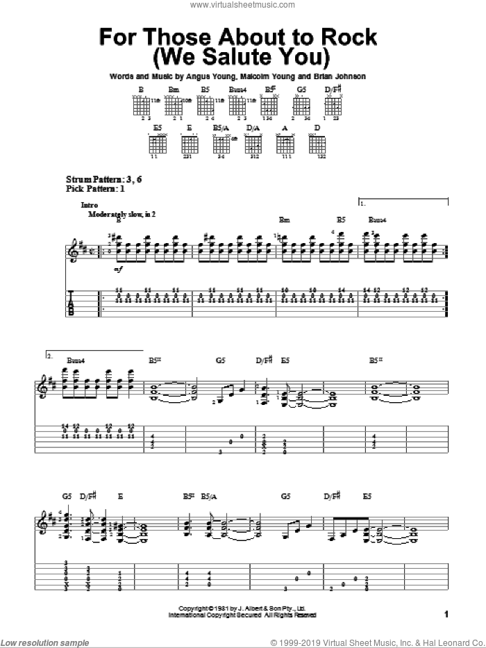 For Those About To Rock (We Salute You) sheet music for guitar solo (easy tablature) by AC/DC, Angus Young, Brian Johnson and Malcolm Young, easy guitar (easy tablature)