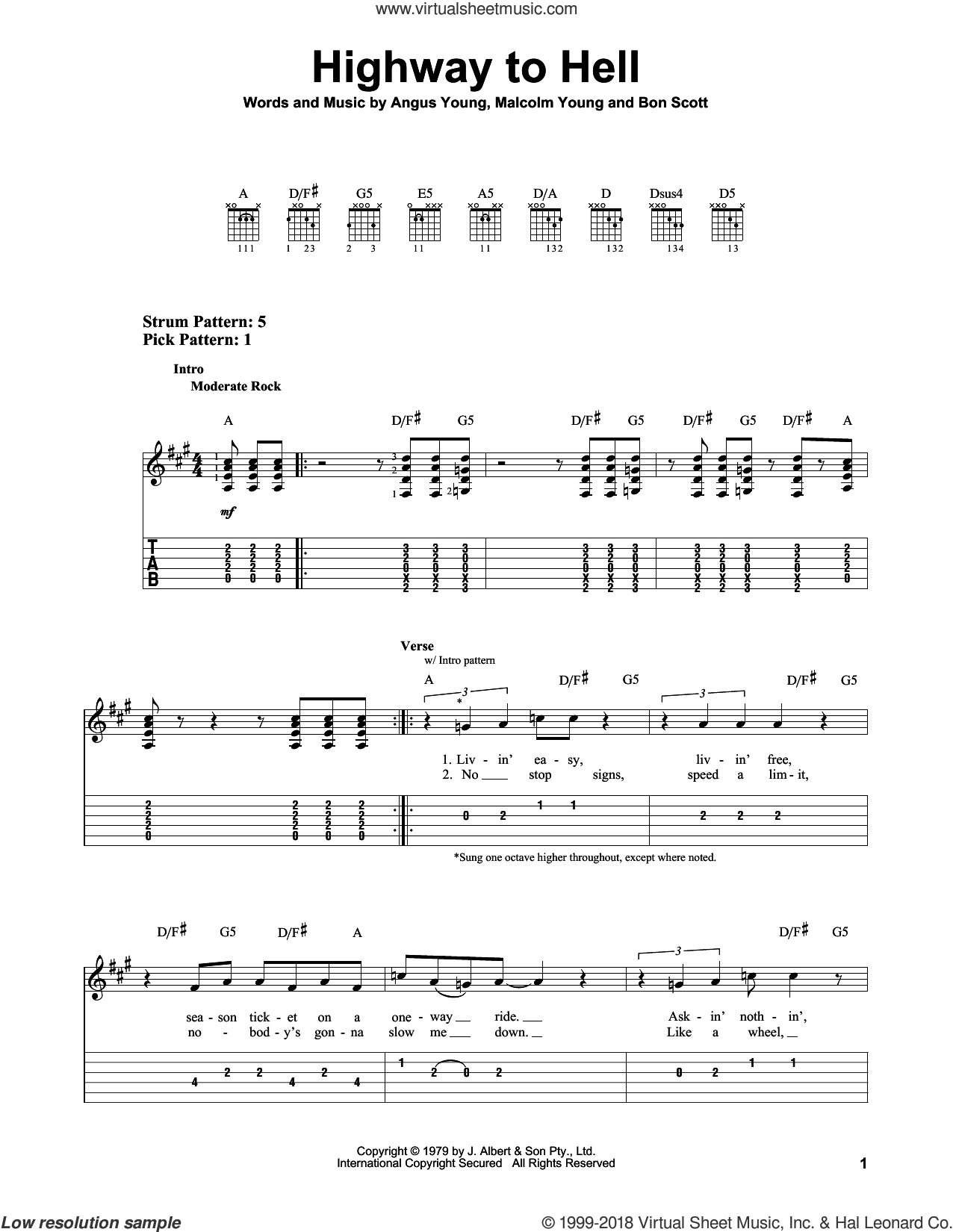 Highway To Hell sheet music for guitar solo (easy tablature) by Malcolm Young, AC/DC and Angus Young. Score Image Preview.