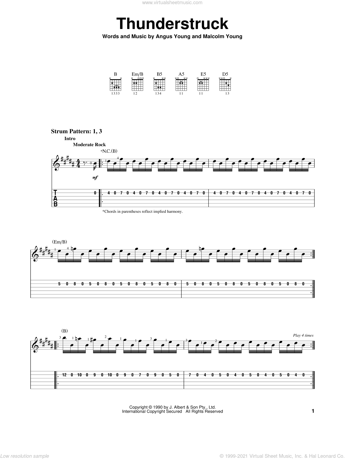 Thunderstruck sheet music for guitar solo (easy tablature) by AC/DC, easy guitar (easy tablature). Score Image Preview.