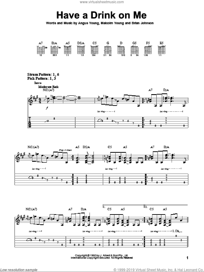 Have A Drink On Me sheet music for guitar solo (easy tablature) by AC/DC, Angus Young, Brian Johnson and Malcolm Young, easy guitar (easy tablature)