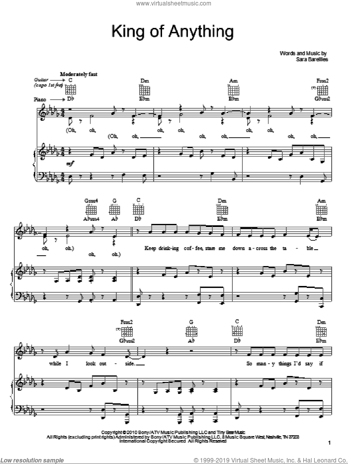 King Of Anything sheet music for voice, piano or guitar by Sara Bareilles, intermediate skill level