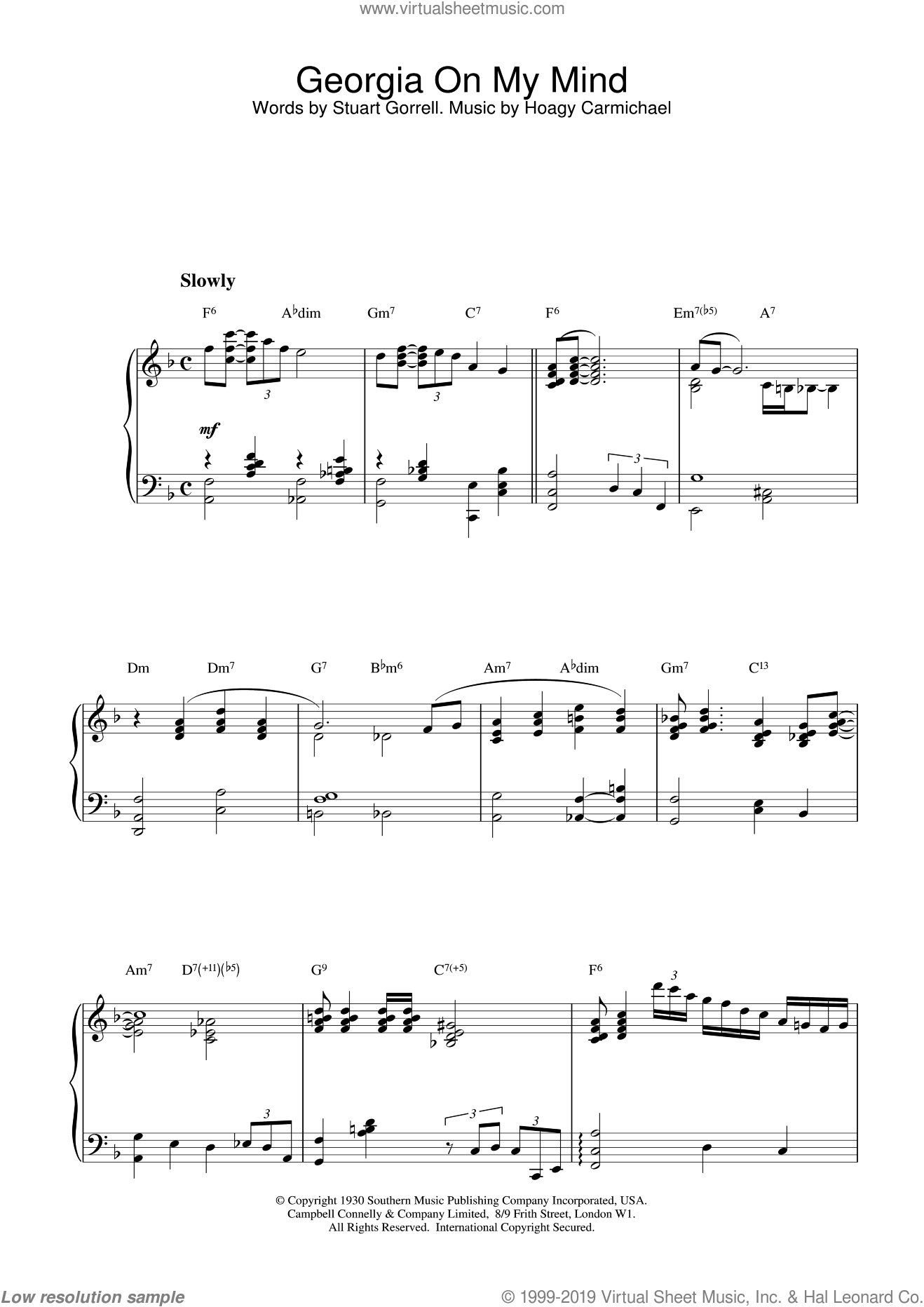 Georgia On My Mind, (intermediate) sheet music for piano solo by Hoagy Carmichael, Ray Charles, Willie Nelson and Stuart Gorrell, intermediate skill level