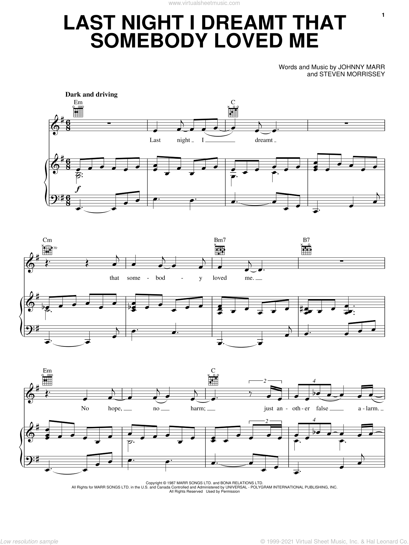 Last Night I Dreamt That Somebody Loved Me sheet music for voice, piano or guitar by The Smiths, Johnny Marr and Steven Morrissey, intermediate skill level