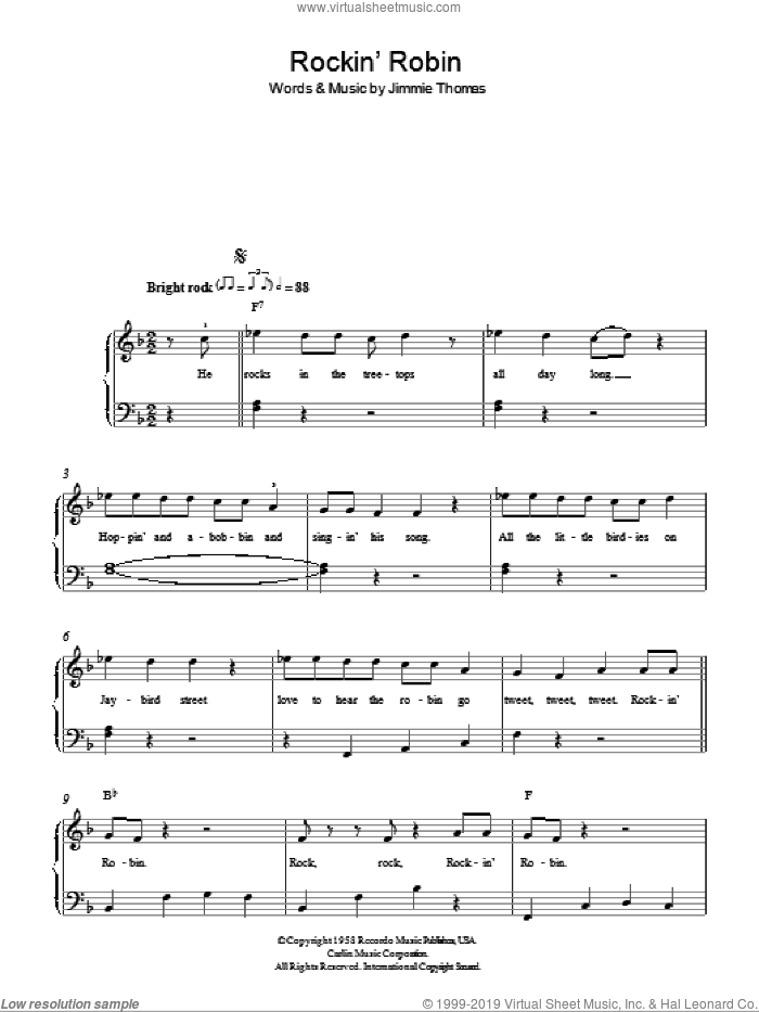 Rockin' Robin sheet music for piano solo by Michael Jackson and Jimmie Thomas, easy. Score Image Preview.