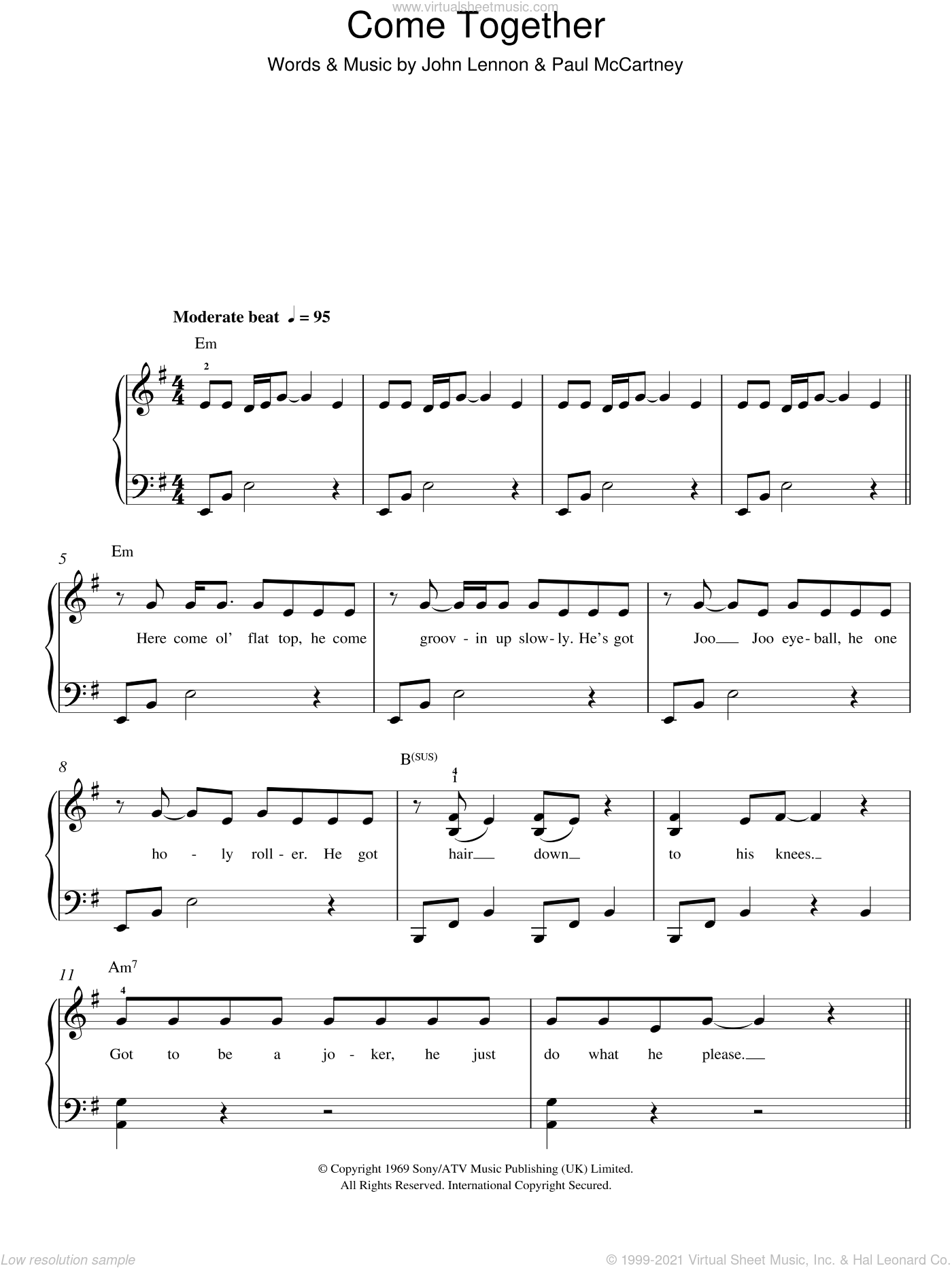 Come Together sheet music for piano solo by Michael Jackson, The Beatles, John Lennon and Paul McCartney, easy. Score Image Preview.