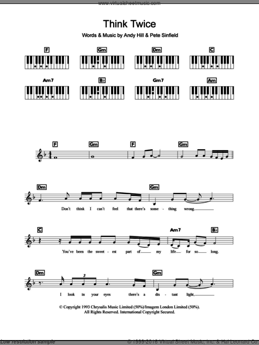 Think Twice sheet music for piano solo (chords, lyrics, melody) by Pete Sinfield, Celine Dion and Andy Hill. Score Image Preview.