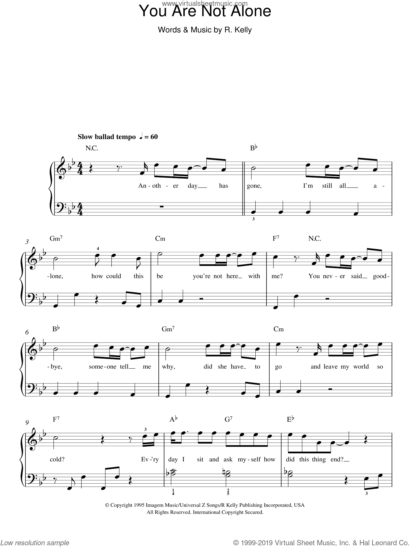 You Are Not Alone sheet music for piano solo by Michael Jackson and Robert Kelly, easy skill level