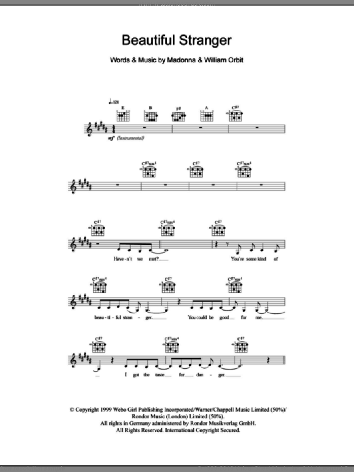 Beautiful Stranger sheet music for voice and other instruments (fake book) by Madonna and William Orbit. Score Image Preview.