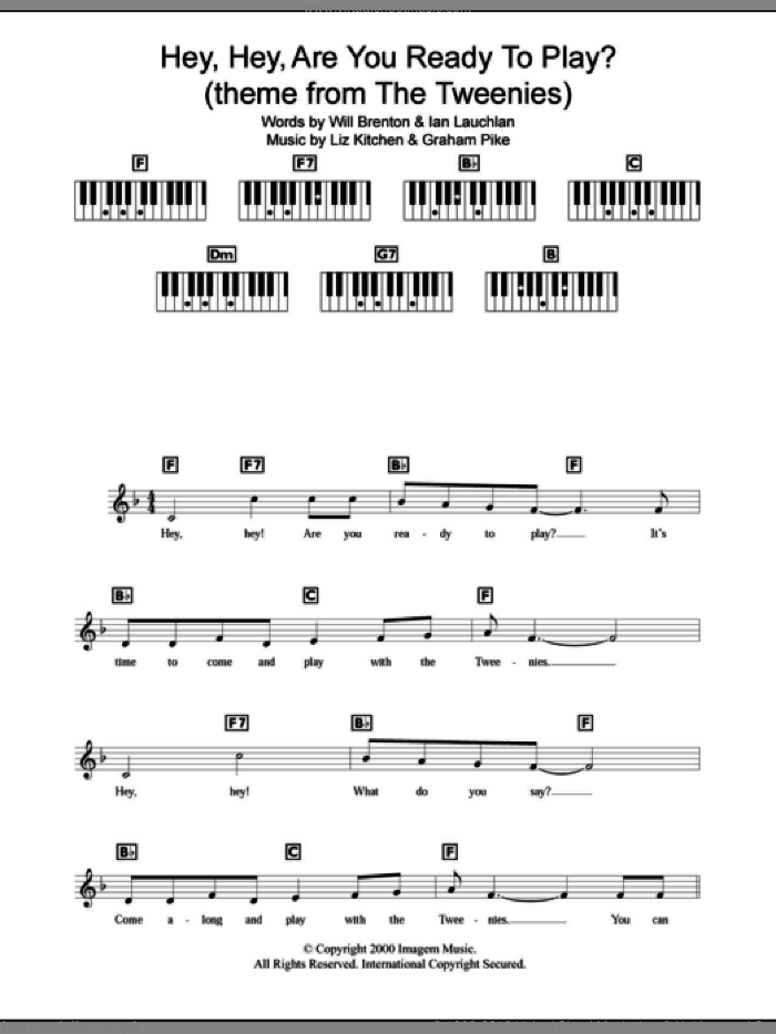 Hey, Hey, Are You Ready To Play? sheet music for piano solo (chords, lyrics, melody) by Liz Kitchen, intermediate piano (chords, lyrics, melody). Score Image Preview.
