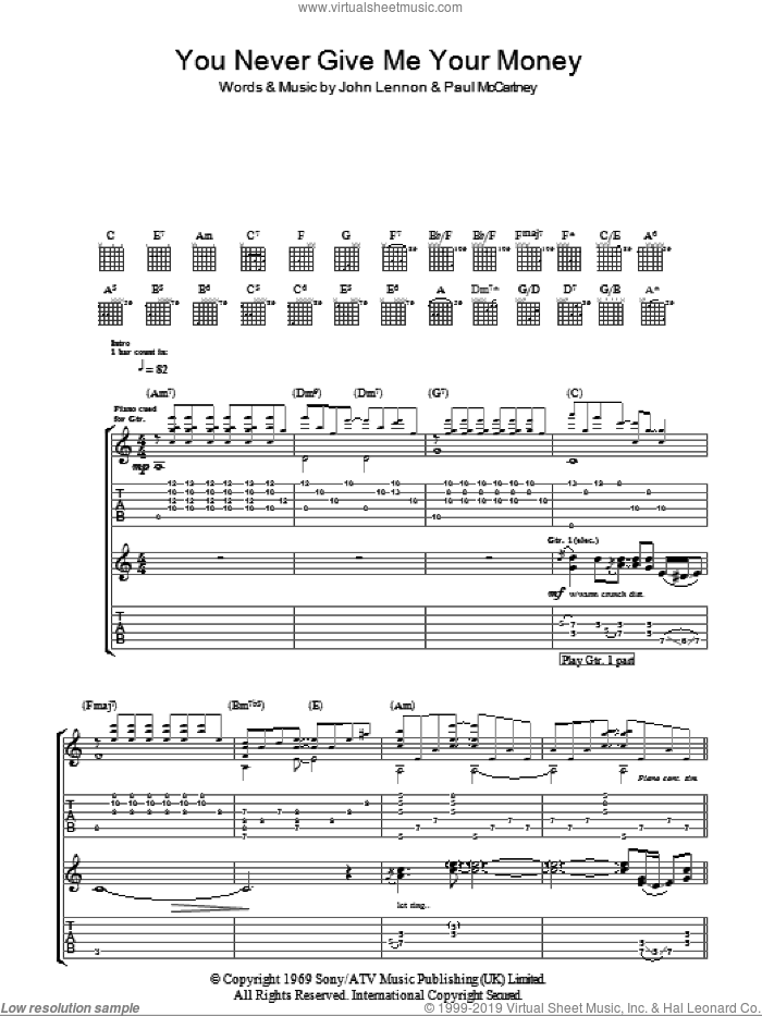 You Never Give Me Your Money sheet music for guitar (tablature) by The Beatles, John Lennon and Paul McCartney, intermediate. Score Image Preview.