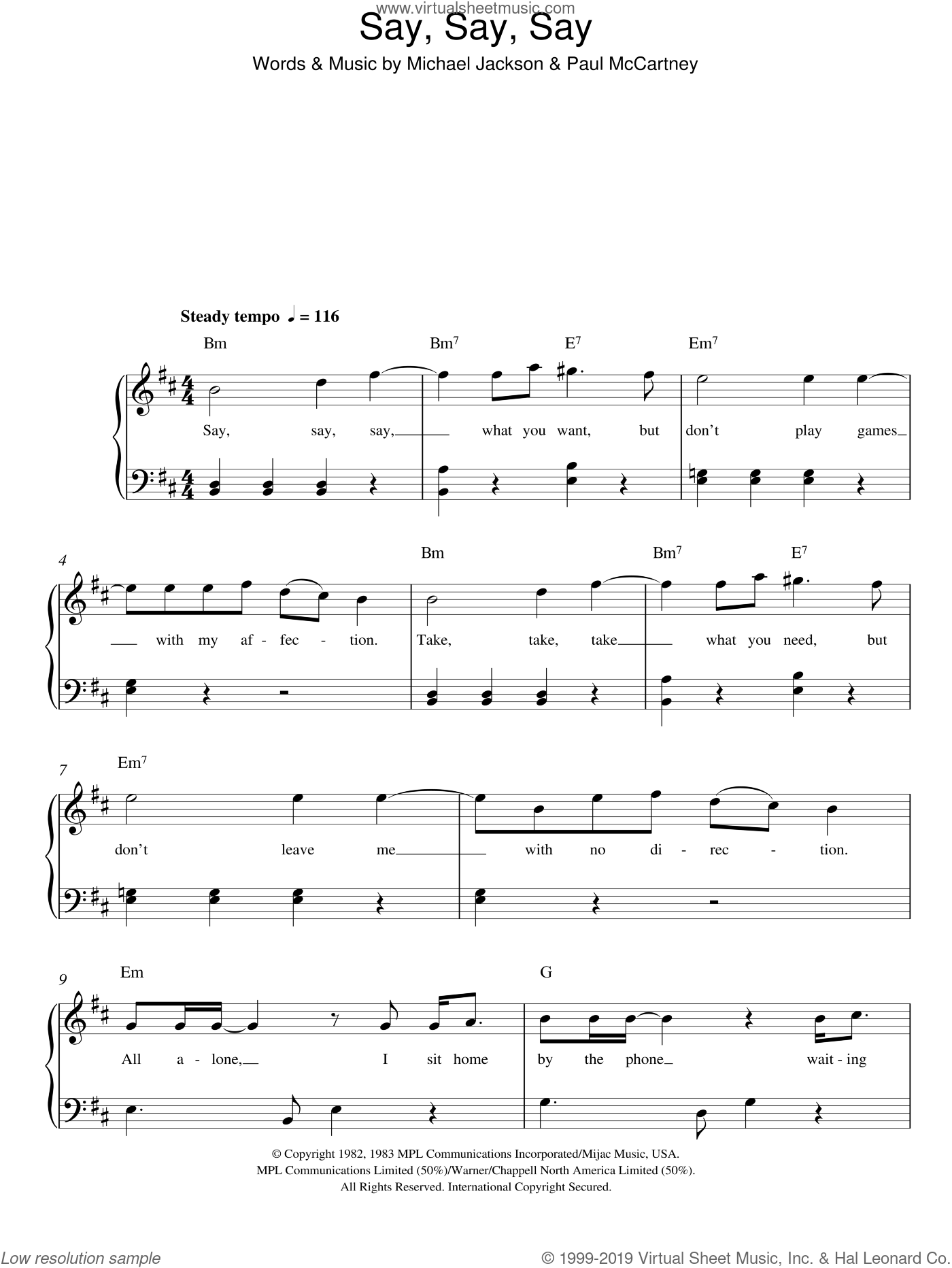 Say Say Say sheet music for piano solo by Paul McCartney and Michael Jackson, Michael Jackson and Paul McCartney, easy. Score Image Preview.