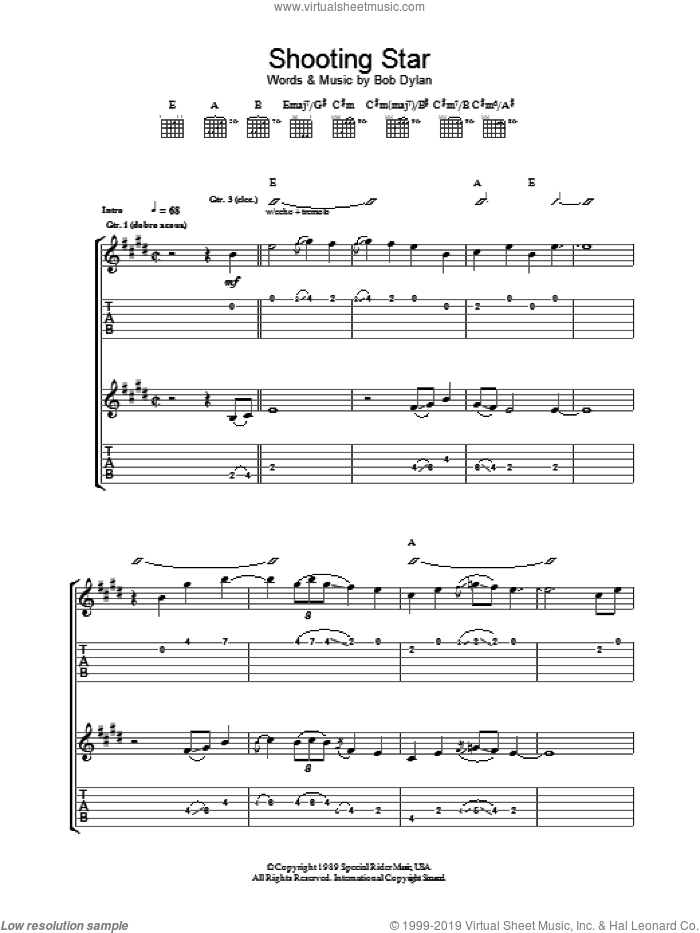 Shooting Star sheet music for guitar (tablature) by Bob Dylan, intermediate skill level