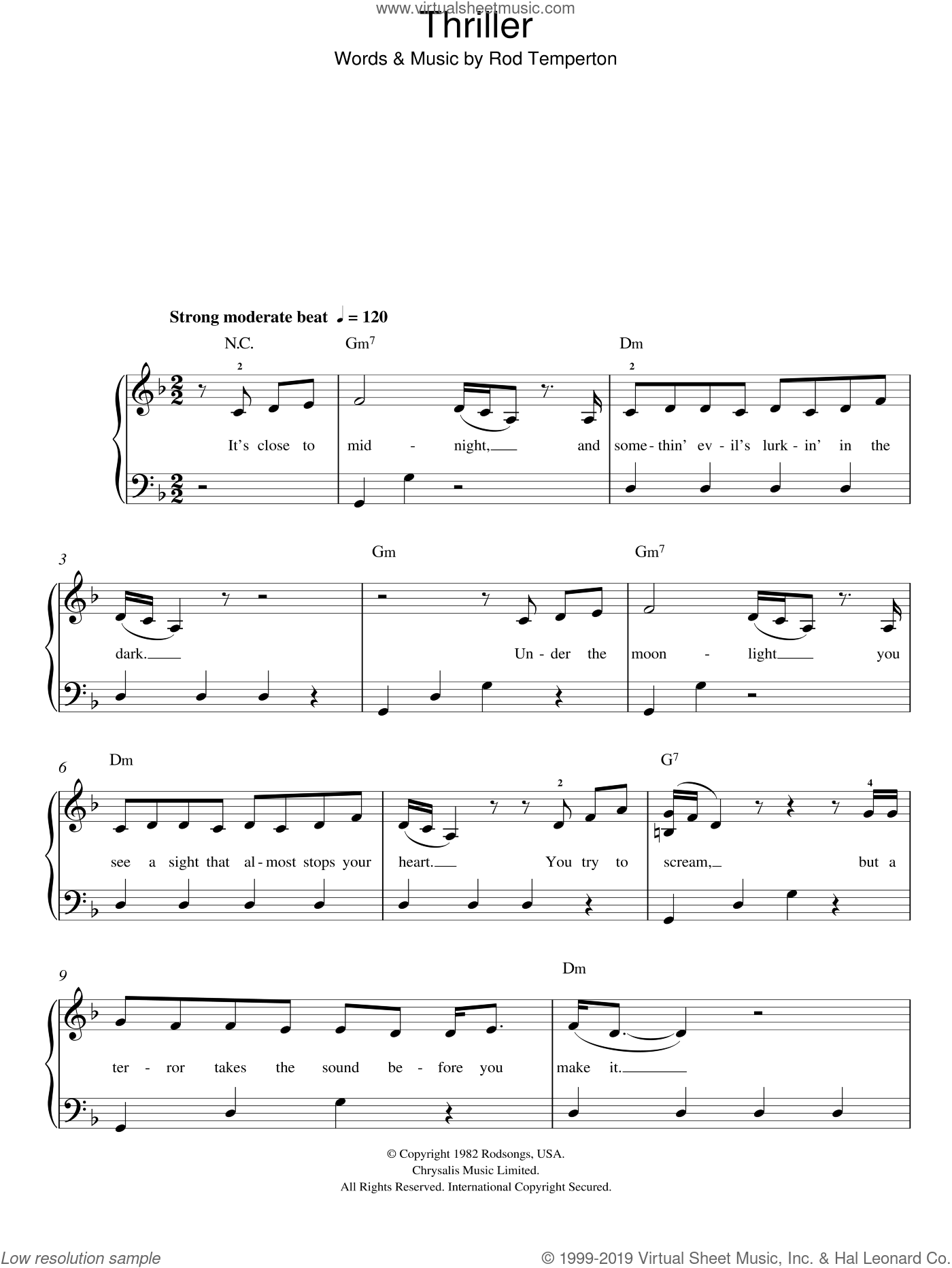 Thriller sheet music for piano solo by Rod Temperton and Michael Jackson. Score Image Preview.