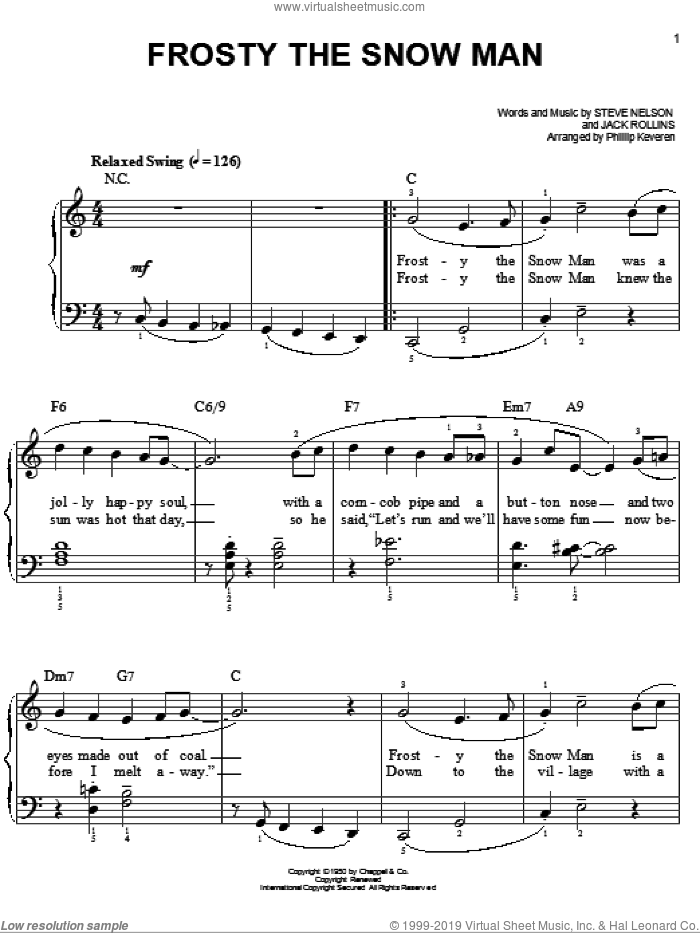 Frosty The Snow Man [Jazz version] (arr. Phillip Keveren) sheet music for piano solo by Gene Autry, Phillip Keveren, Jack Rollins and Steve Nelson, easy skill level