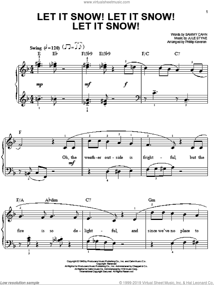 Let It Snow! Let It Snow! Let It Snow! sheet music for piano solo by Sammy Cahn, Phillip Keveren and Jule Styne, easy skill level