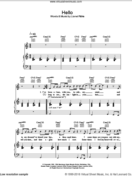 Hello sheet music for voice, piano or guitar by Lionel Richie. Score Image Preview.