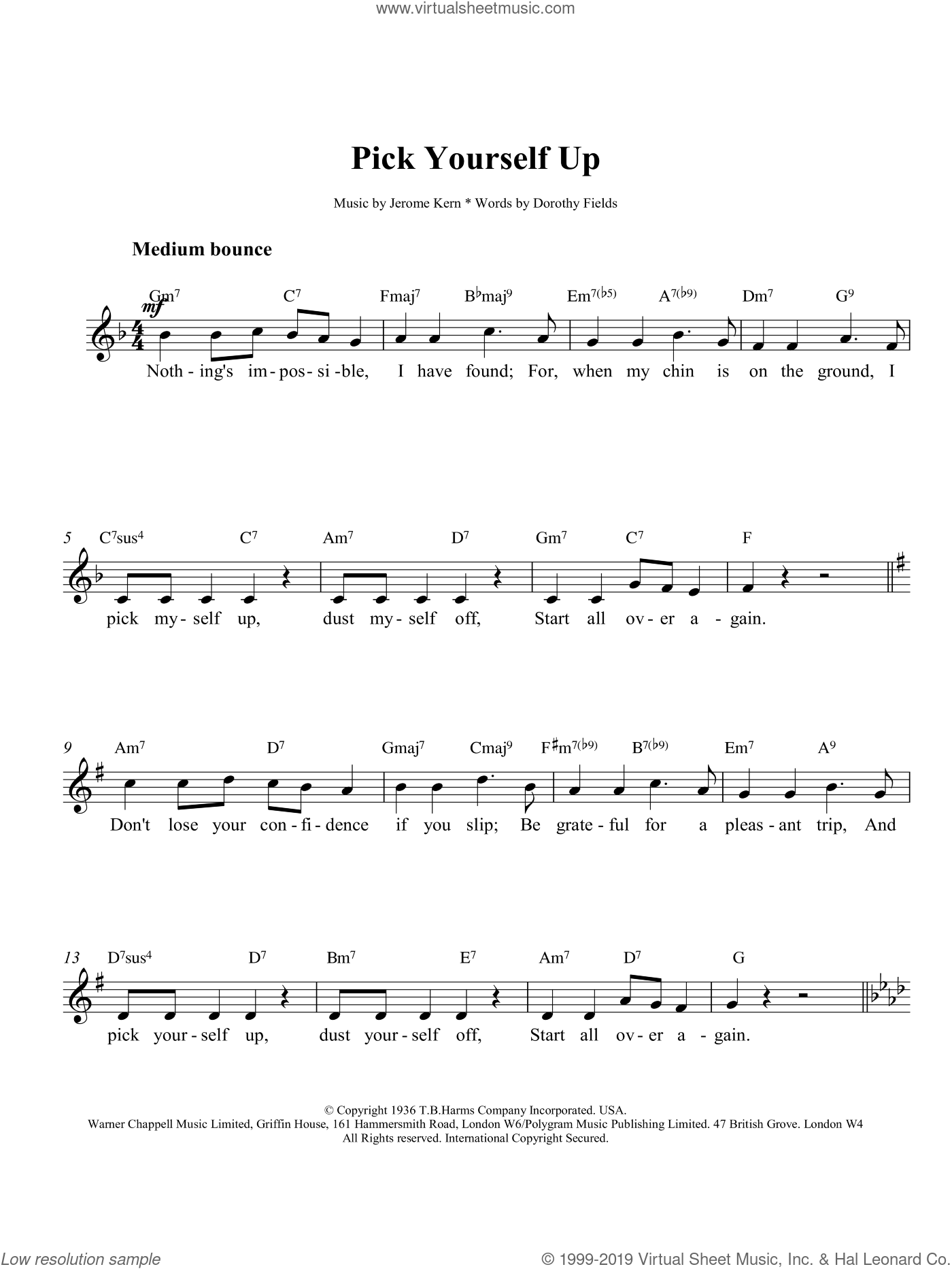Pick Yourself Up sheet music for voice and other instruments (fake book) by Jerome Kern and Dorothy Fields, intermediate skill level