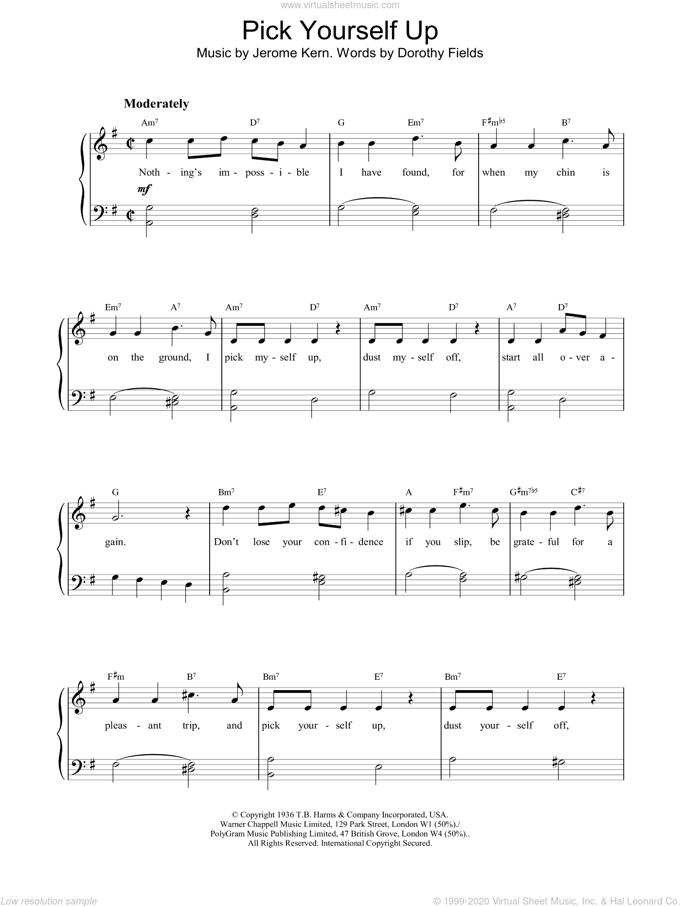 Pick Yourself Up sheet music for piano solo by Jerome Kern and Dorothy Fields, intermediate skill level