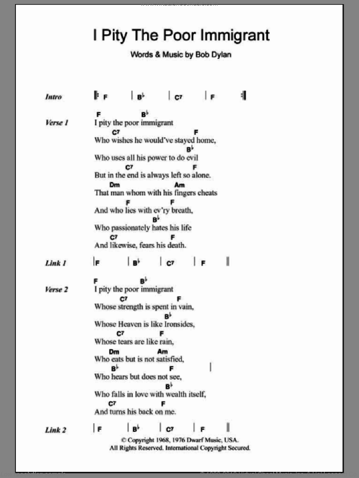 I Pity The Poor Immigrant sheet music for guitar (chords) by Bob Dylan, intermediate guitar (chords). Score Image Preview.