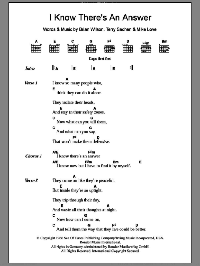 I Know There's An Answer sheet music for guitar (chords) by Terry Sachen, The Beach Boys, Brian Wilson and Mike Love. Score Image Preview.