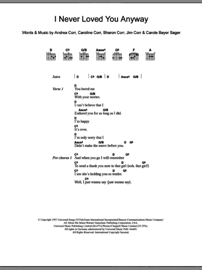 I Never Loved You Anyway sheet music for guitar (chords) by Sharon Corr, The Corrs, Andrea Corr and Carole Bayer Sager