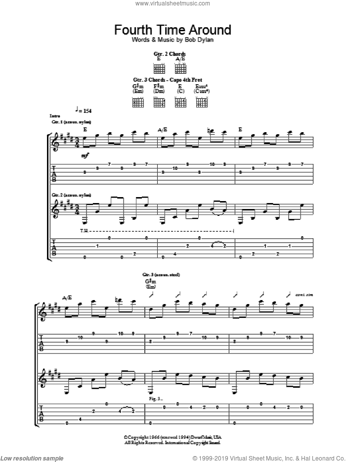 Fourth Time Around sheet music for guitar (tablature) by Bob Dylan, intermediate skill level