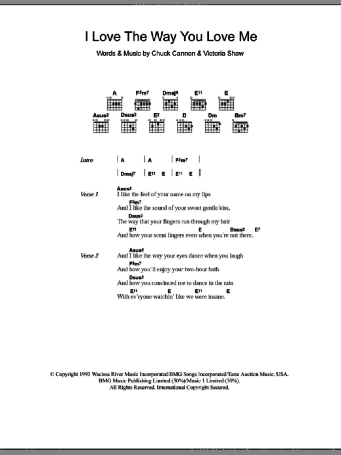 I Love The Way You Love Me sheet music for guitar (chords) by Boyzone, Chuck Cannon and Victoria Shaw, intermediate skill level