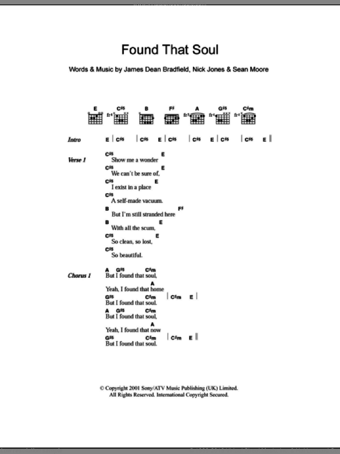 Found That Soul sheet music for guitar (chords) by Manic Street Preachers, James Dean Bradfield, Nick Jones and Sean Moore, intermediate
