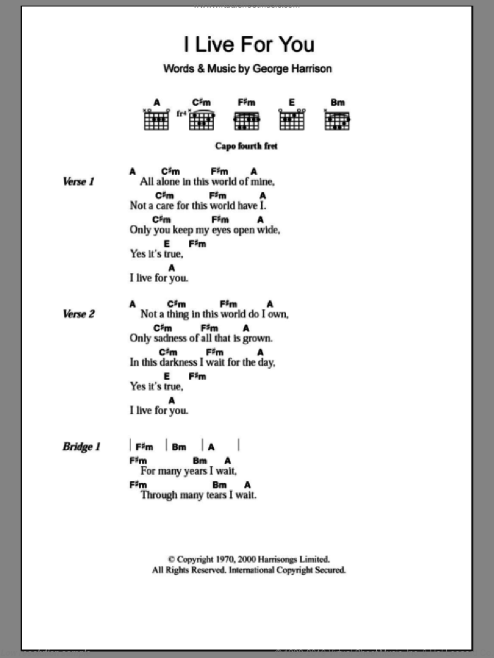 I Live For You sheet music for guitar (chords) by George Harrison. Score Image Preview.