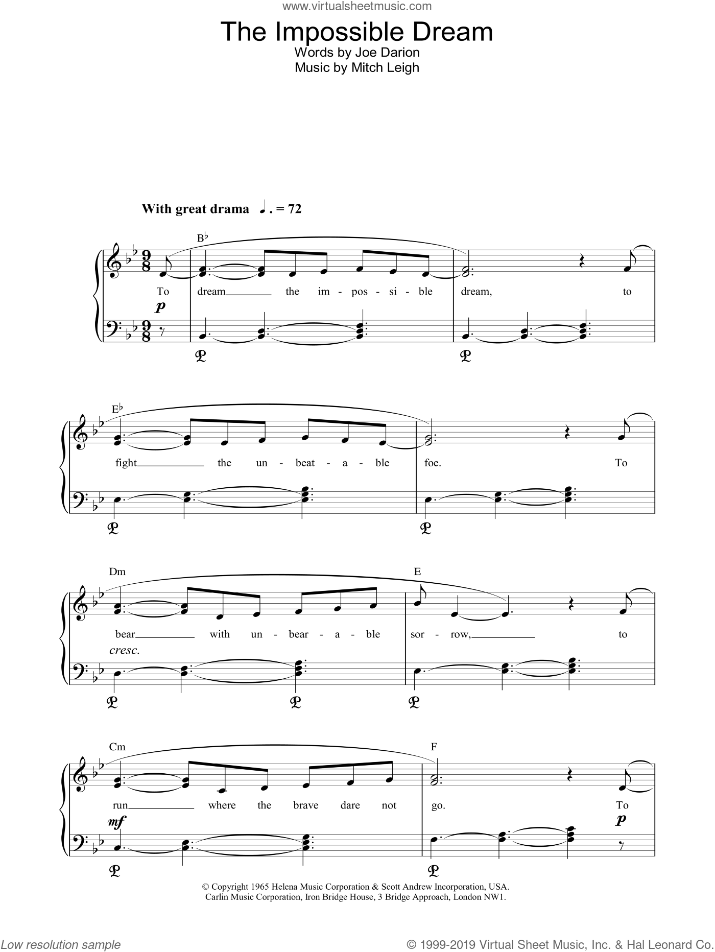 The Impossible Dream sheet music for piano solo by Mitch Leigh, Glen Campbell and Roger Williams. Score Image Preview.