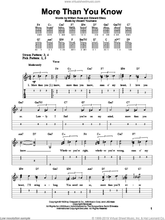 More Than You Know sheet music for guitar solo (easy tablature) by William Rose, Edward Eliscu and Vincent Youmans. Score Image Preview.