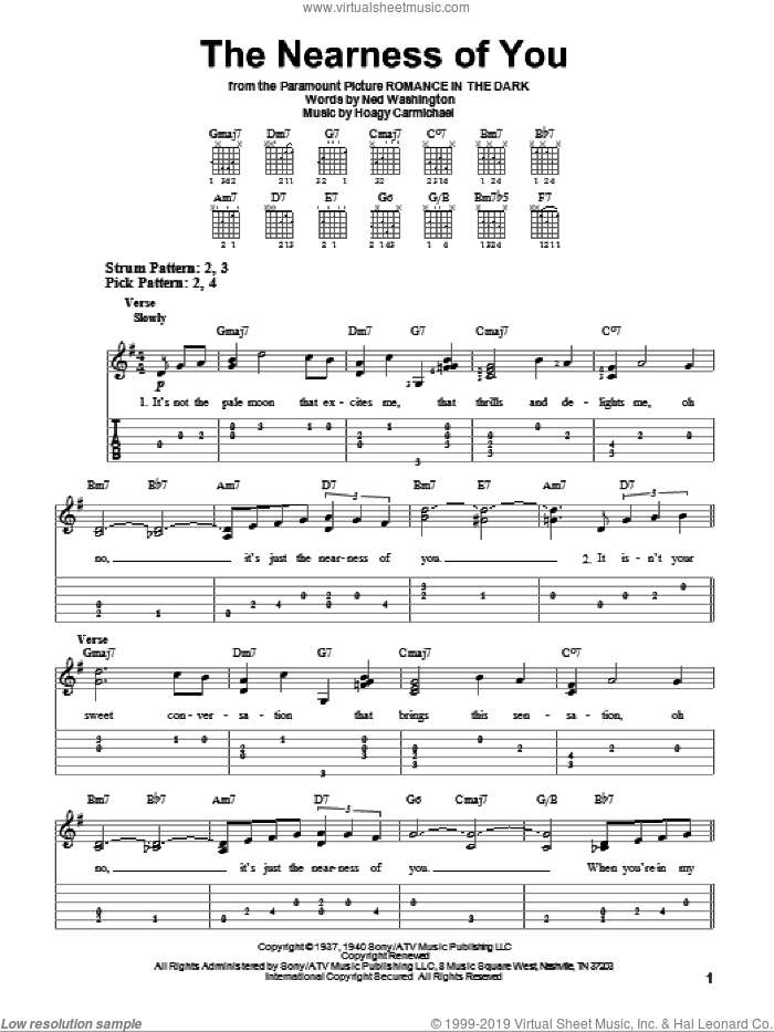 The Nearness Of You sheet music for guitar solo (easy tablature) by Ned Washington and Hoagy Carmichael. Score Image Preview.