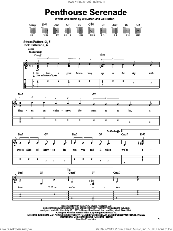Penthouse Serenade sheet music for guitar solo (easy tablature) by Will Jason