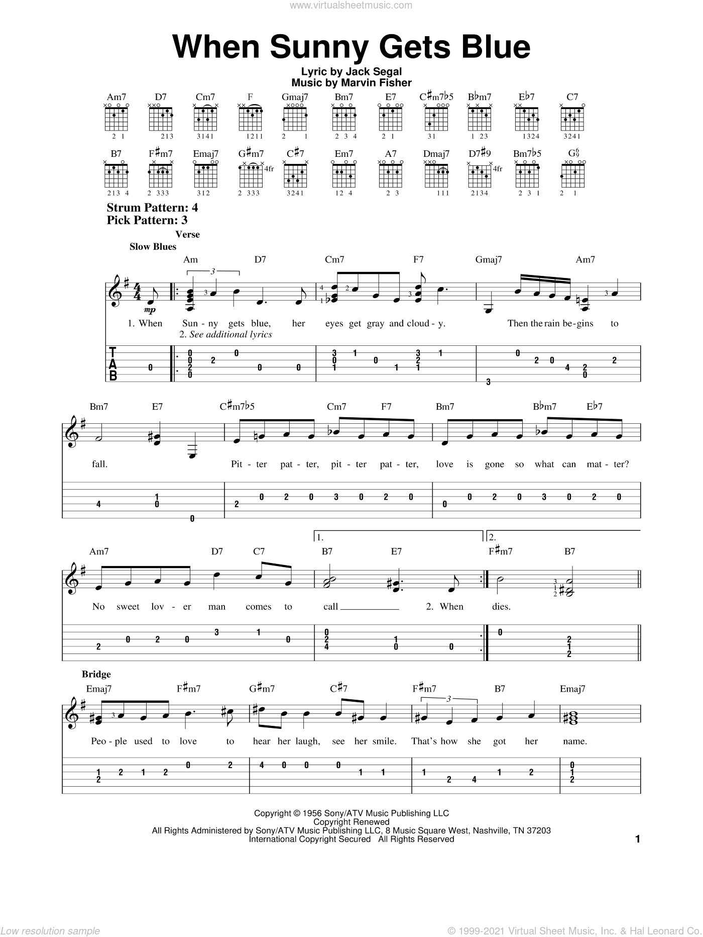When Sunny Gets Blue sheet music for guitar solo (easy tablature) by Jack Segal and Marvin Fisher, easy guitar (easy tablature). Score Image Preview.