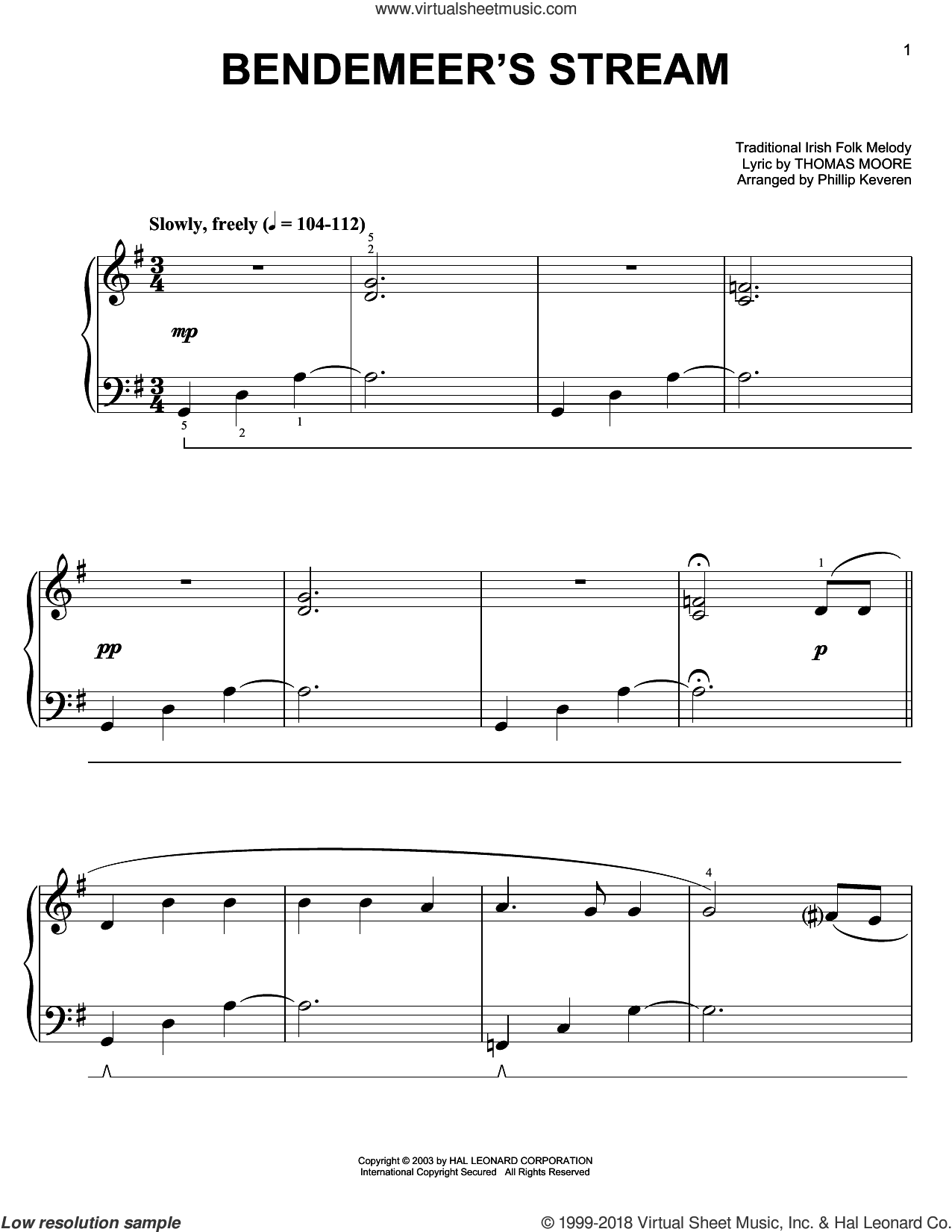 Bendemeer's Stream sheet music for piano solo , Phillip Keveren and Thomas Moore. Score Image Preview.