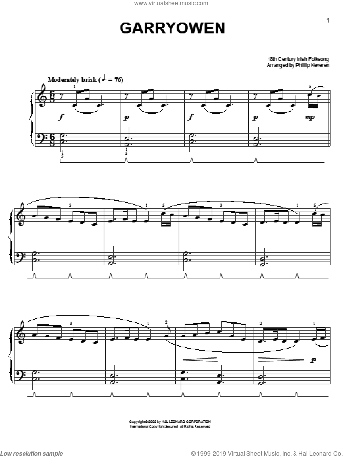 Garryowen sheet music for piano solo  and Phillip Keveren, easy skill level