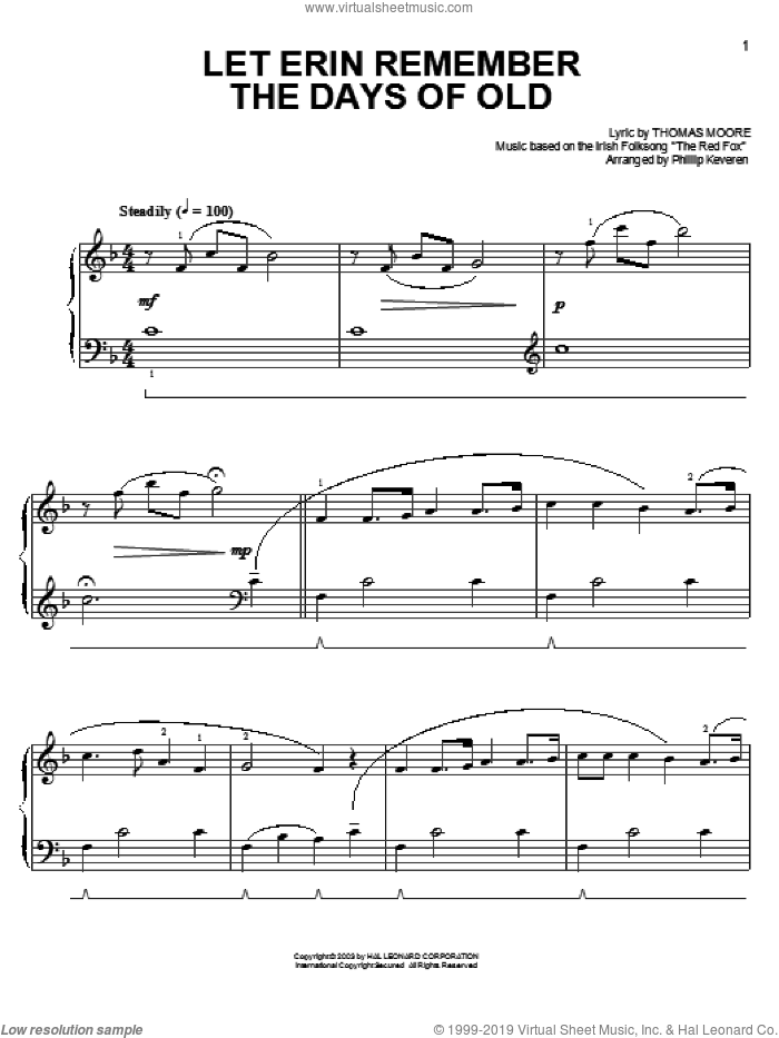Let Erin Remember The Days Of Old sheet music for piano solo , Phillip Keveren and Thomas Moore. Score Image Preview.