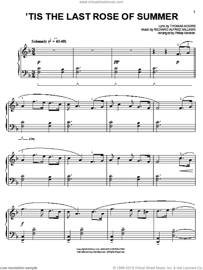 'Tis The Last Rose Of Summer sheet music for piano solo by Thomas Moore and Phillip Keveren, easy skill level