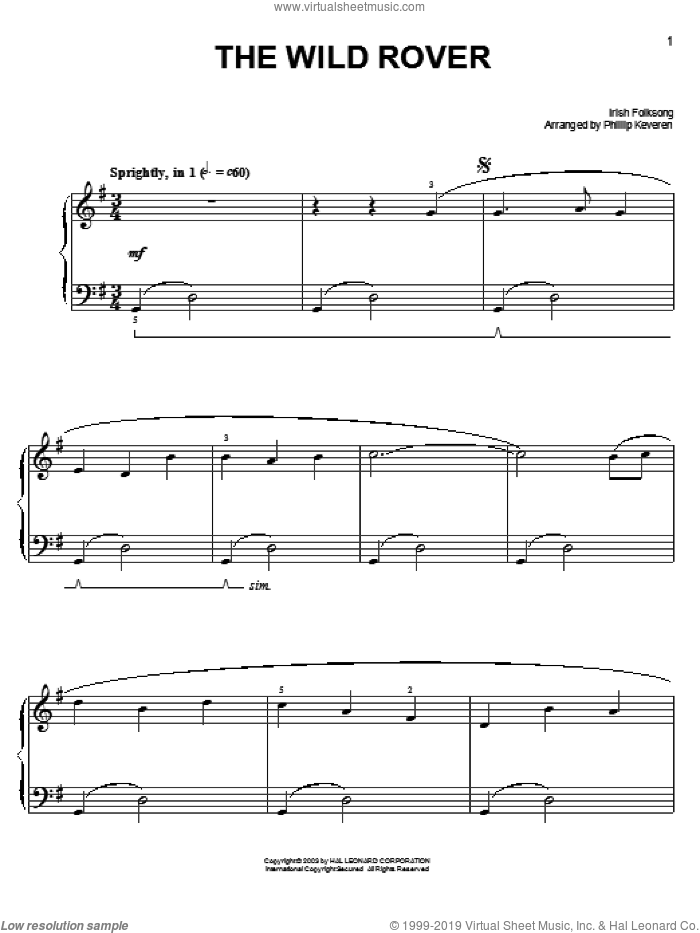 Wild Rover sheet music for piano solo