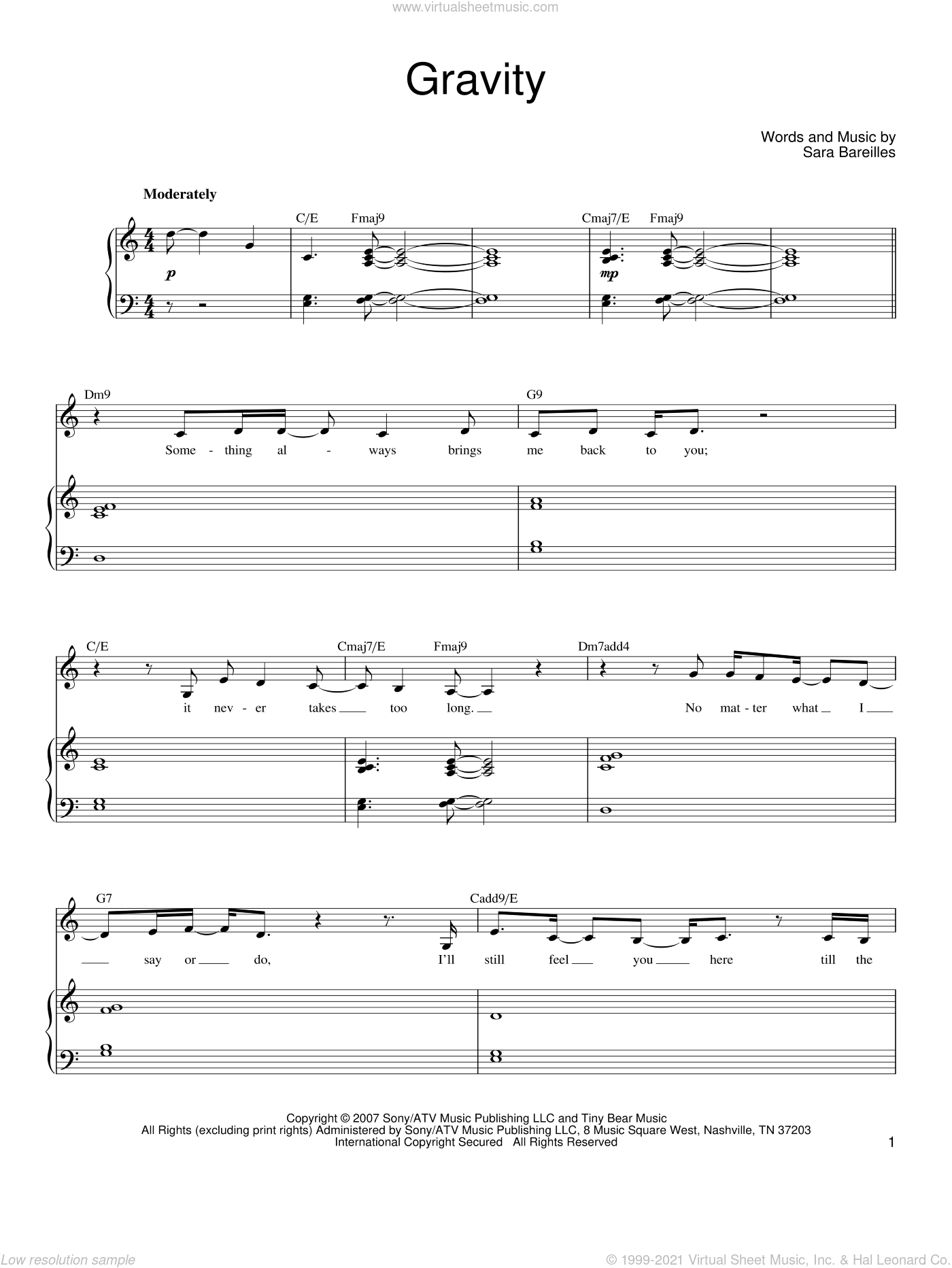 Gravity sheet music for voice, piano or guitar by Sara Bareilles, intermediate skill level