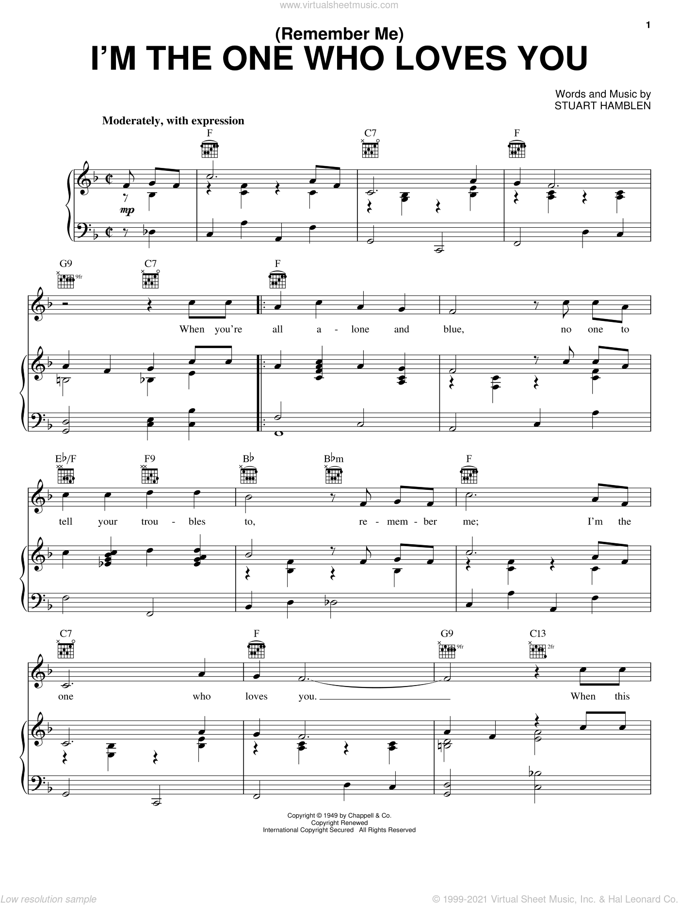 (Remember Me) I'm The One Who Loves You sheet music for voice, piano or guitar by Ernest Tubb and Stuart Hamblen, intermediate skill level
