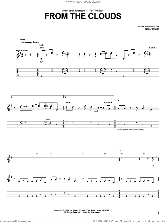 From The Clouds sheet music for guitar (tablature) by Jack Johnson. Score Image Preview.