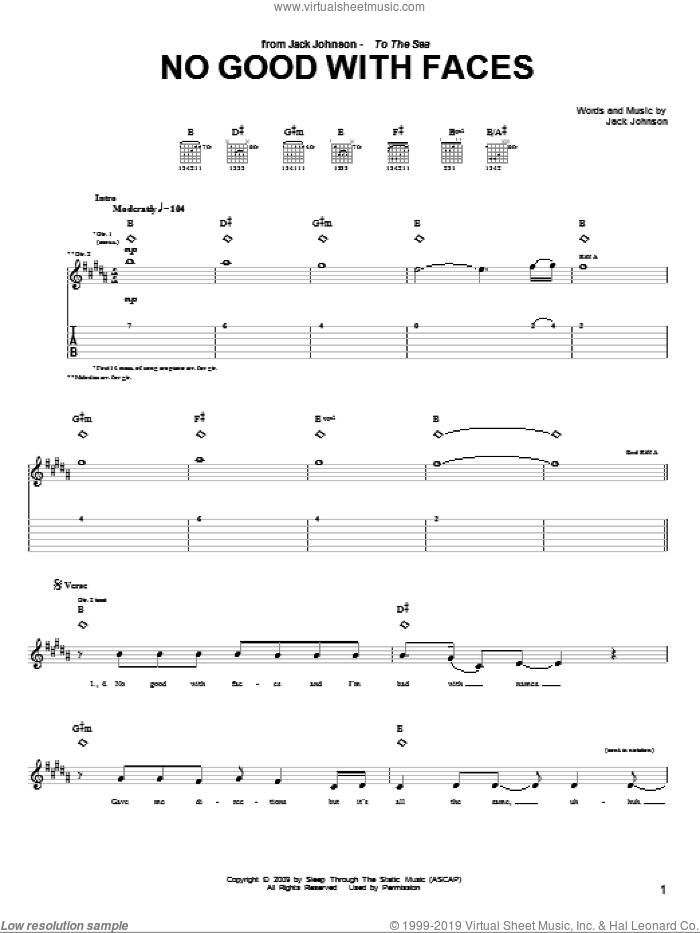 No Good With Faces sheet music for guitar (tablature) by Jack Johnson, intermediate