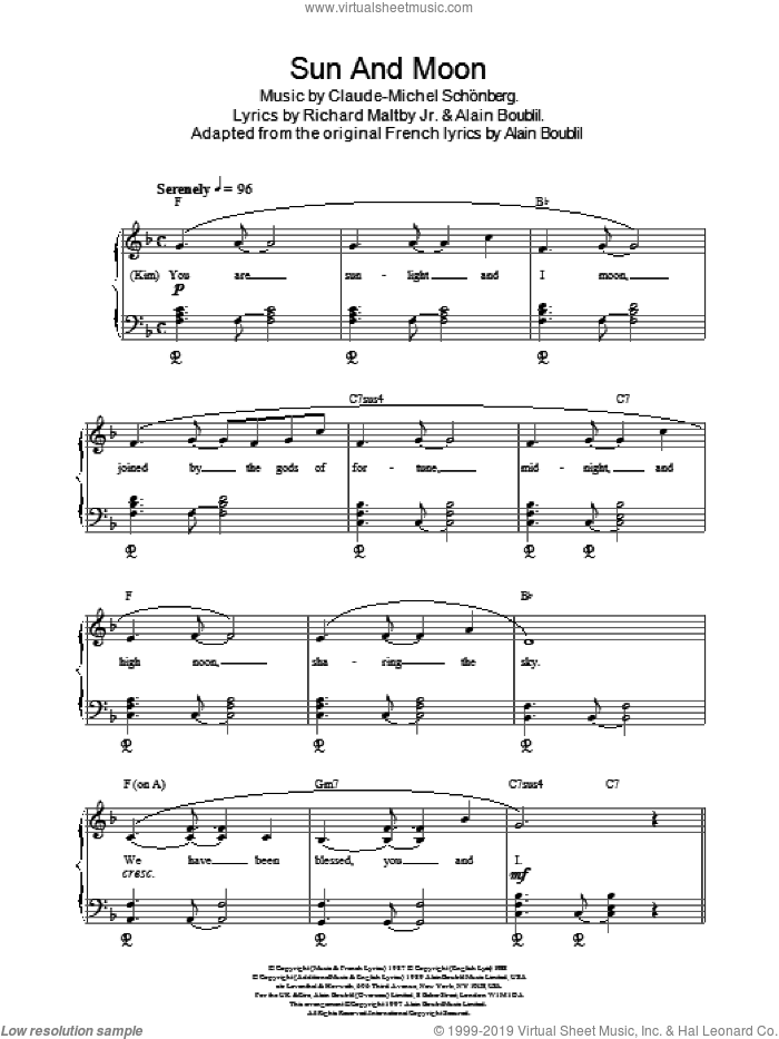 Sun And Moon sheet music for piano solo by Claude-Michel Schonberg, Miss Saigon (Musical), Alain Boublil and Richard Maltby, Jr., intermediate skill level