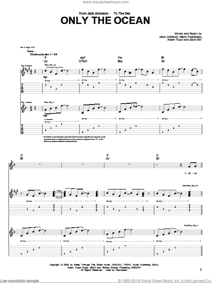 Only The Ocean sheet music for guitar (tablature) by Zach Gill, Adam Topol, Jack Johnson and Merlo Podlewski. Score Image Preview.