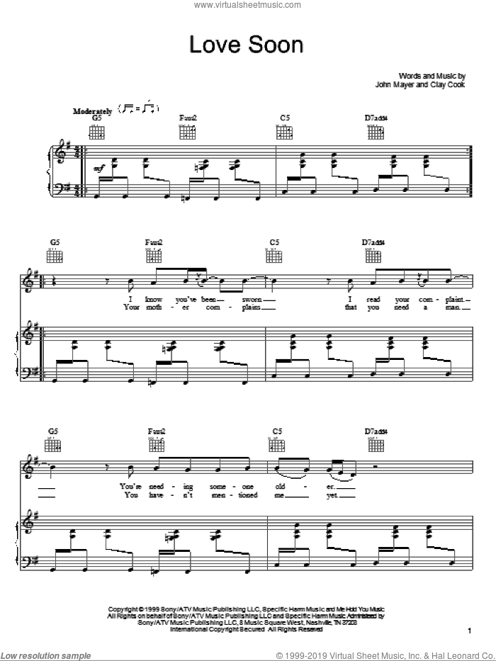 Love Soon sheet music for voice, piano or guitar by Clay Cook and John Mayer. Score Image Preview.