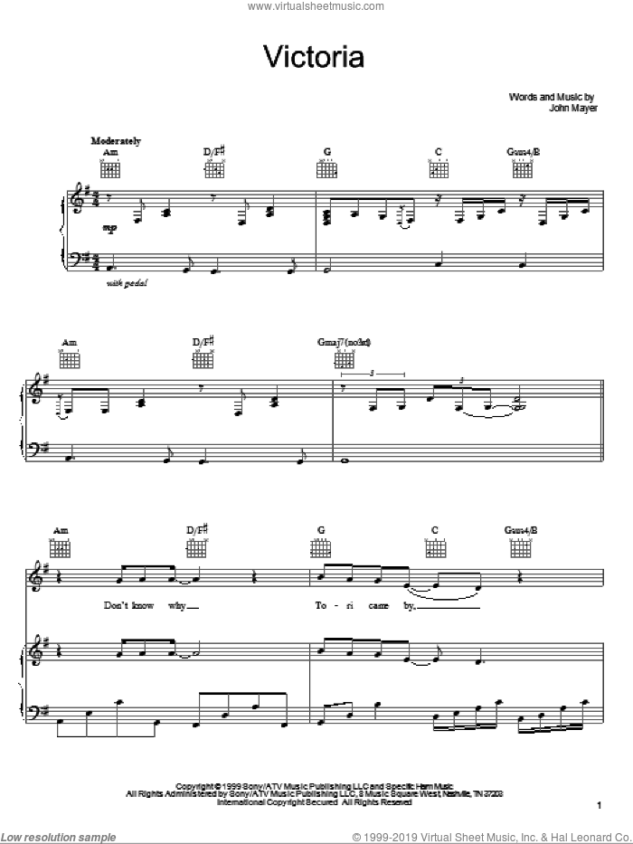 Victoria sheet music for voice, piano or guitar by John Mayer, intermediate skill level
